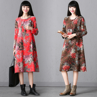 National Wind Linen color autumn dress (Red)