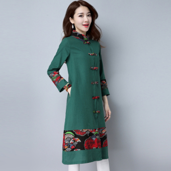National Wind Linen long section Plus-sized long-sleeved cardigan dress (Green)