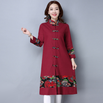 National Wind Linen long section Plus-sized long-sleeved cardigan dress (Red)