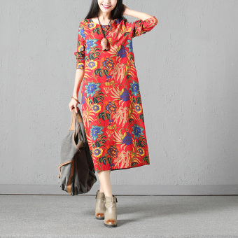 National Wind Linen loose Print long-sleeved dress robe (Red)