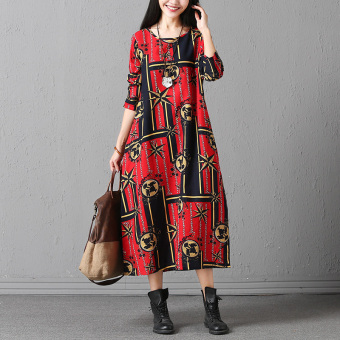 National Wind Linen New style Print dress (Red Bottom feet green Block)
