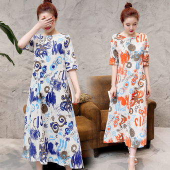 National Wind Linen plate buttons Print dress (Orange)