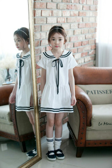 Navy Korean-style New style girls short sleeved dress (White) (White)