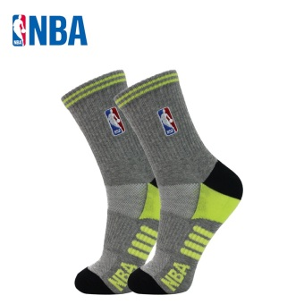 NBA curled wool men tube non-slip athletic socks basketball socks (In the flower gray/Black/light green)