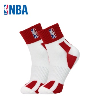 NBA fine comb Cotton Four Seasons paragraph breathable men socks basketball sports socks (White/Hong)