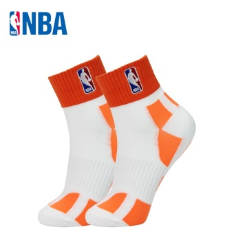 NBA fine comb Cotton Four Seasons paragraph breathable men socks basketball sports socks (White/orange)