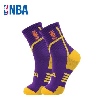 NBA fine comb cotton tube non-slip breathable socks basketball socks (Purple/yellow)