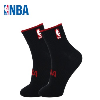 NBA Men's Athletic Combed Cotton Socks - Solid Color (Black/red)