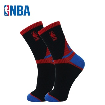 NBA Men's Athletic Y-Heel Combed Cotton Tube Socks (Black/blue/Hong)