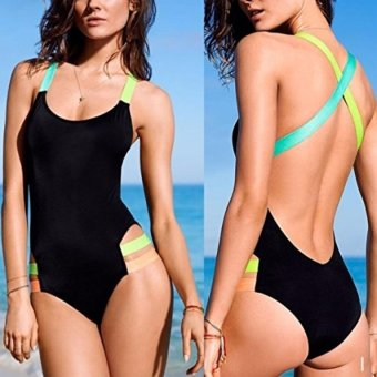 NEON STRAP ONE PIECE MONOKINI SWIMWEAR SWIMSUIT