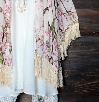 New 2016 Women Swimwear Cardigan Kaftan Fringe Floral PrintedChiffon Shawl Tops Tassels Kimono .