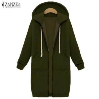 New Arrival ZANZEA Winter Coats Jacket Women Long Hooded Sweatshirts Coat Casual Zipper Outerwear Hoodies Plus Size (Army Green) - intl