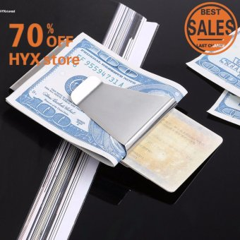 NEW ARRIVAL!!!Men Stainless Steel Slim Clip Double Sided Money Clip Credit Card Holder - intl