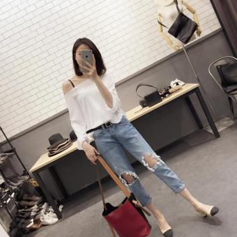New Arrivals Ripped Overalls Women Spring Loose Wide Jeans FemaleLight Blue Torn Jeans Elastic Holes Jean Pants for Girls - intl Price Philippines