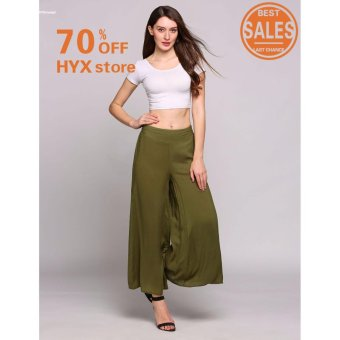 NEW ARRIVAL!!!Women Solid Mid Waist Loose Breathable Wide-Legged Pants(Army Green) - intl