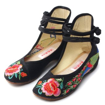 New Chinese Style Women Casual Shoes Flower Sandals Embroidered Flats Mary Janes -Intl - 4