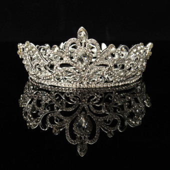 New Crystal Rhinestone Queen Crown Tiara Wedding Pageant Bridal Diamante Headpiece Silver - intl