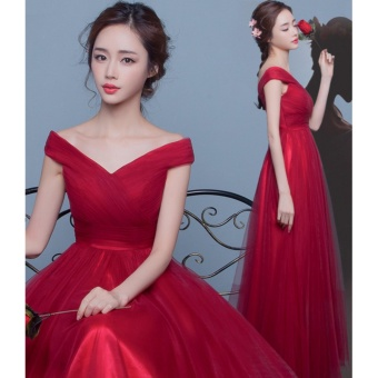 New Dress In Spring Summer 2017 Wine Red Ball Gown Motion TrailShoulders Bride Married Long Wedding Dress-Red - intl