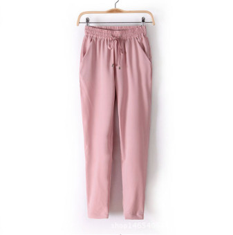 New European Candy Color Casual Harem Pants -Pink - intl Price Philippines