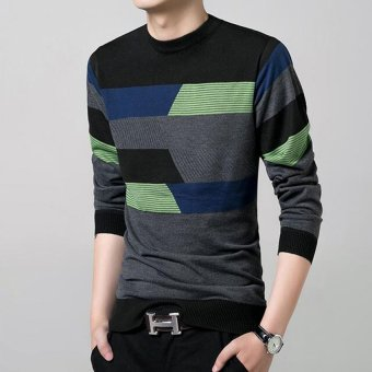 New Fall Fashion Men's Cotton Round Neck Long-sleeved StripedSweater(Black) - 5