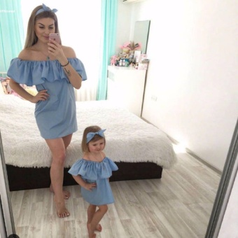 New Fashion Casual Mother Daughter Matching Girls Off ShoulderRuffles Decor Dress Outfit - intl