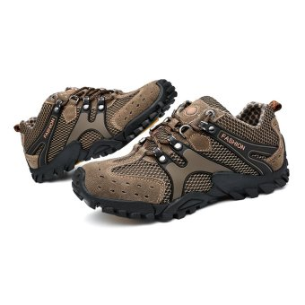 New Fashion Durable Mens Hiking Shoes Mountain Climbling Shoes Super Breathable Trekking Shoes Brown
