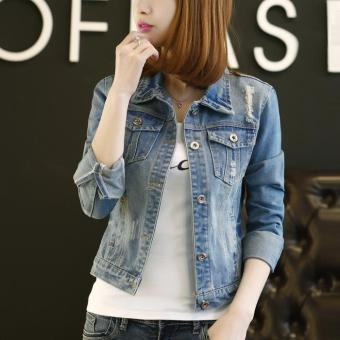 New Fashion Jeans Jacket Womens Denim Jacket Slim Holes Denim Clothing Coats - intl