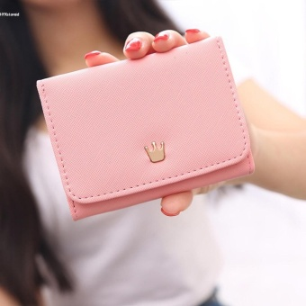 New Fashion Women 3 Fold Faux Leather Envelope Solid Button Purse Wallet - intl