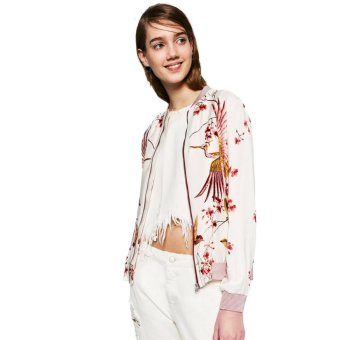 New Fashion Women Bomber Jacket Floral Birds Striped Print StandColloar Long Sleeve Casual Baseball Coat White - intl