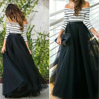 New Fashion Women Ladies Off-shoulder Striped High Waist Tutu Ball Gown Party Club Slim Long Dress Sets - intl