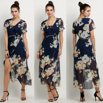 New Fashion Women Ladies Sexy Short Sleeve Crossover Neck Lace UpAsymmetric Hem Split Floral Maxi Beach Chiffon Long Dress - intl
