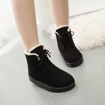 New Fashion Women Round Toe Ankle Boots Shoes Flat With Lace UpBoots(Black) - intl