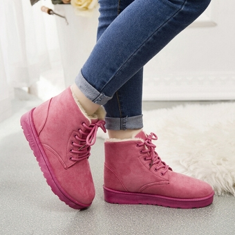 New Fashion Women Round Toe Ankle Boots Shoes Flat With Lace UpBoots(Pink) - intl