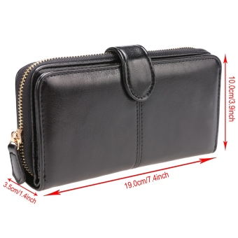 New Fashion Women Synthetic Leather Zip Purse Card Holder Clutch Long Wallet - 4
