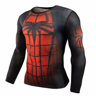 New Fitness Compression T Shirt Men Superman Bodybuilding LongSleeve 3D T-shirt Crossfit Tops Shirts Camiseta Brand ClothingMMA(Spiderman) - intl