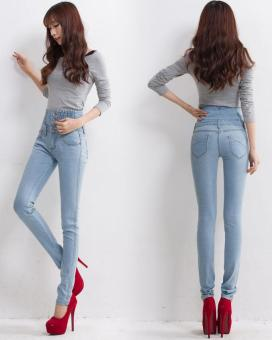 New High Waist Jeans Slim Fashion Plus Size Woman Jeans Denim LongPencil Pants Light Blue - intl