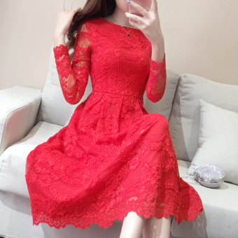 New Korean winter new women lace long-sleeved dress Dress (Red [long])