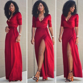New Long Maxi Dresses Women Summer Formal Evening Party CocktailProm Dresses Red - intl