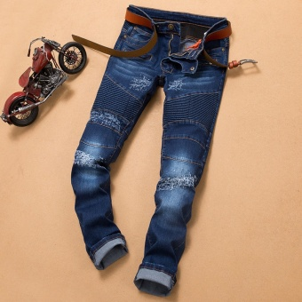 NEW men Biker jeans ripped denim slim motorcycle pant men classic rap hip hop skinny casual stretch jeans- Dark Blue - intl