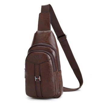 New Men Cowhide Leather Chest Pack Sports Outdoor Leisure CrossbodyBag Hiking Daypack Cycling Travel Double-deck Sling Bag (Brown) -intl