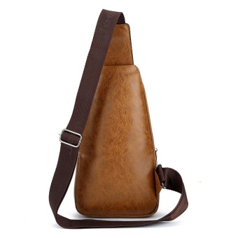 New Men Cowhide Leather Chest Pack Sports Outdoor Leisure CrossbodyBag Hiking Daypack Cycling Travel Double-deck Sling Bag (Brown) -intl - 3