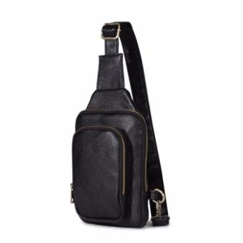 New Men Messenger Bags Business Man Chest Pack Mens Waist Pack One Shoulder Crossbody Bags for Men Leather Handbags -Black - intl