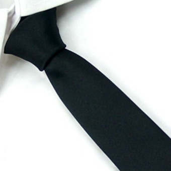 New Men's Solid Skinny Wedding Groom Neck Tie Plain Black Silk Necktie SK09