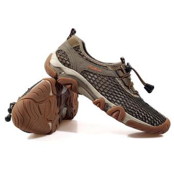 New Men's Anti Slip Outdoor Sport Cycling Shoes Hiking Shoes SoftTrekking Shoes Khaki - intl