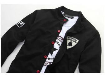 New Men's Fashion Embroidered Red Button Slim Sports SweaterCardigan (Black) - 5