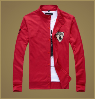 New Men's Fashion Embroidered Red Button Slim Sports SweaterCardigan (Red)
