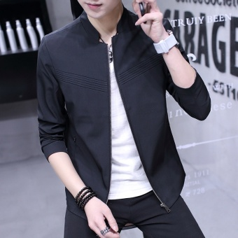 New mens jacket collar men casual jacket fashion slim jacket - intl