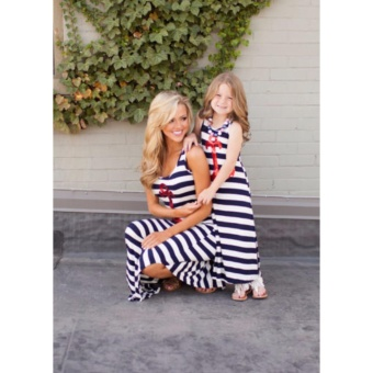 New Mother Daughter Matching dresses Fashion Sequine Anchor Navy Stripes Maxi Sundress - intl