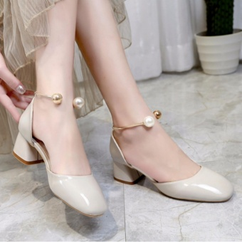 New Pearl Leather Shoes High-Heeled Square Shoes Ladies Shoes White- intl