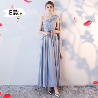 New style bridesmaid sisters dress bridesmaid dress (E models light silver color)